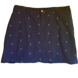 Woman Within Navy Blue Skort Nautical Anchors 20W